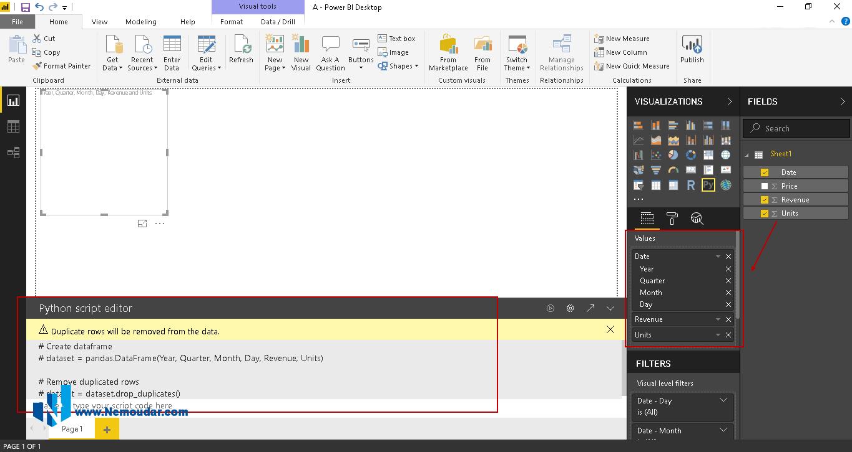 python script editor در Power BI