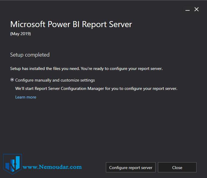 تکمیل نصب Power BI report server
