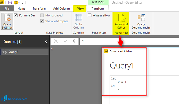 کلیک روی advanced editor در power query