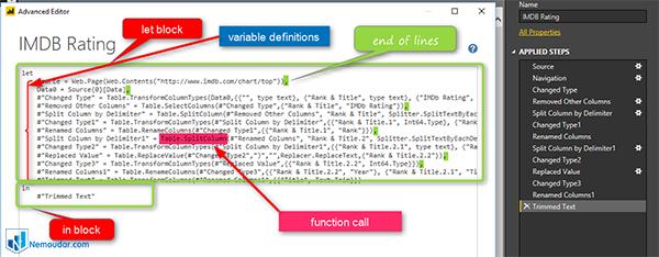 یک مثال از کد زنی در پاور کوئری