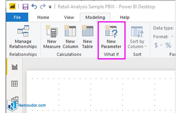 انتخاب new parameter در power bi